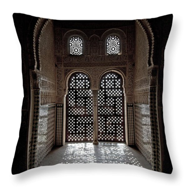 Alhambra window Throw Pillow by Jane Rix