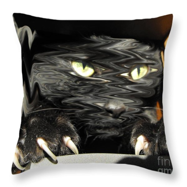 Alice's cat Throw Pillow by Rebecca Margraf