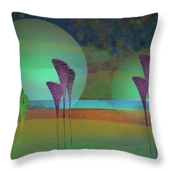 Alien Marsh Night Throw Pillow by Anne Lacy