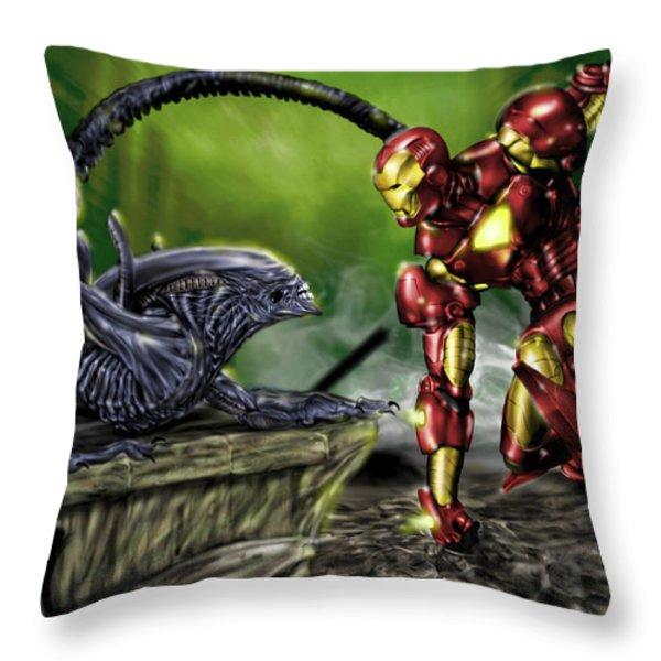 Alien vs Iron Man Throw Pillow by Pete Tapang