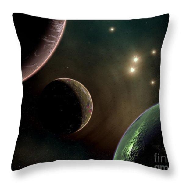 Alien Worlds That Orbit Different Types Throw Pillow by Mark Stevenson