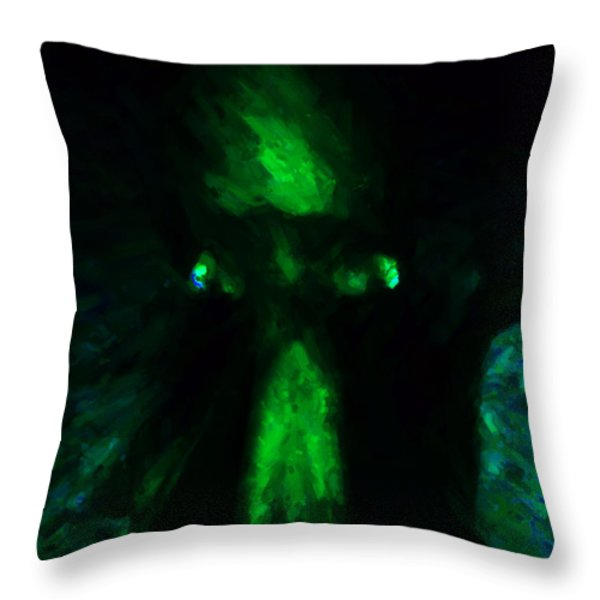Aliens - First Contact - Green Throw Pillow by Wingsdomain Art and Photography