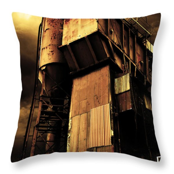 Alive And Well In America . The Old Concrete Plant In Berkeley California . Golden . 7d13967 Throw Pillow by Wingsdomain Art and Photography