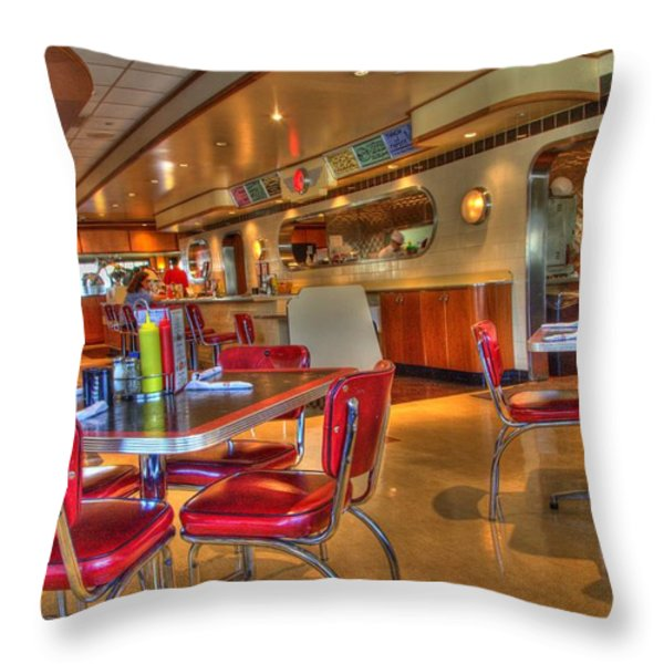 All American Diner 5 Throw Pillow by Bob Christopher