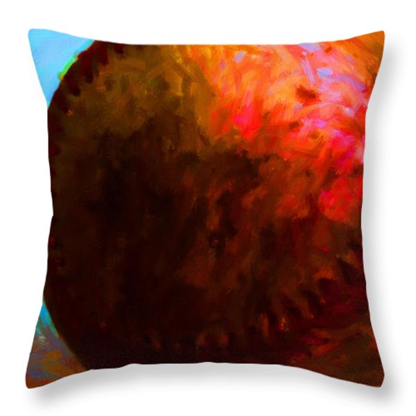 All American Pastime - Baseball Version 3 - Painterly Throw Pillow by Wingsdomain Art and Photography