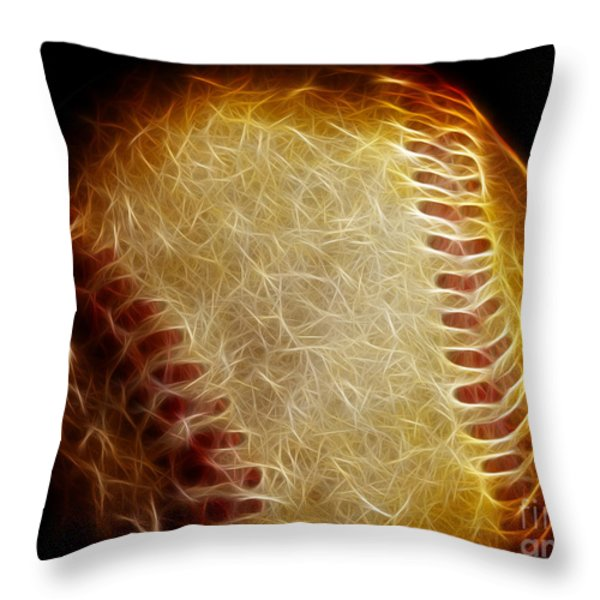 All American Pastime - The Fastball Throw Pillow by Wingsdomain Art and Photography