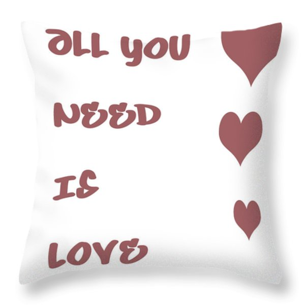 All you Need is Love - Plum Throw Pillow by Nomad Art And  Design