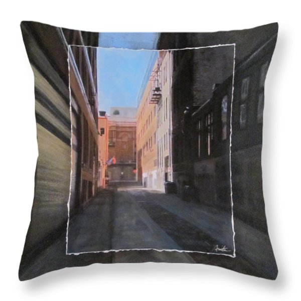 Alley Front Street Layered Throw Pillow by Anita Burgermeister
