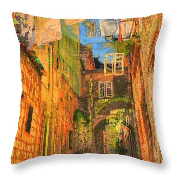 Alley In Croatia Throw Pillow by Alberta Brown Buller