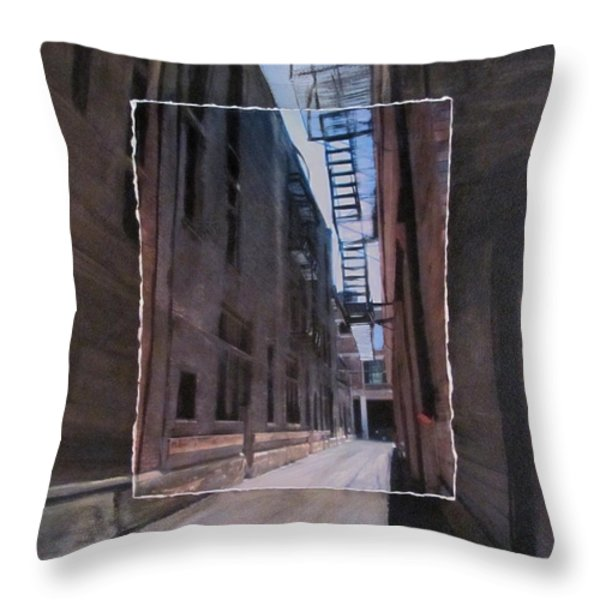 Alley With Fire Escape Layered Throw Pillow by Anita Burgermeister