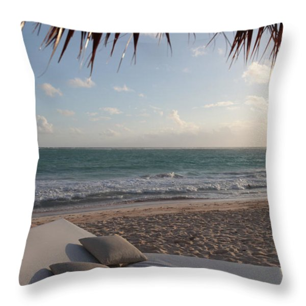 Alluring Tropical Beach Throw Pillow by Karen Lee Ensley
