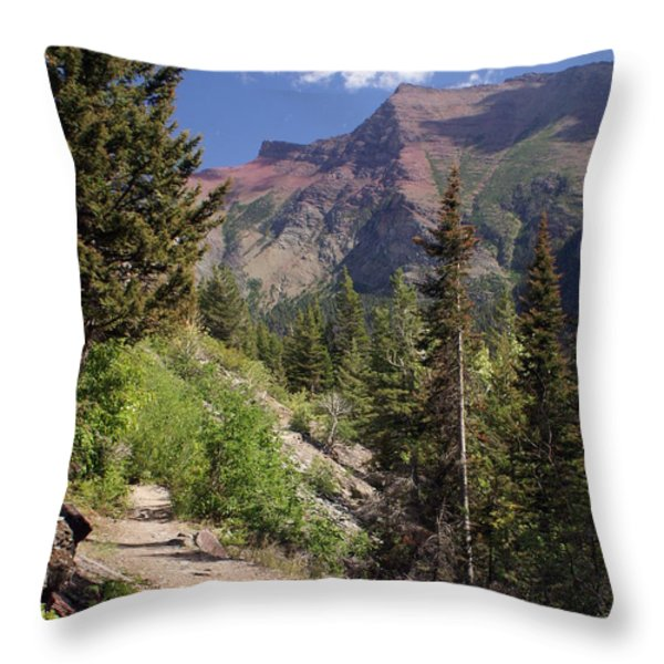Along The Trail Throw Pillow by Marty Koch