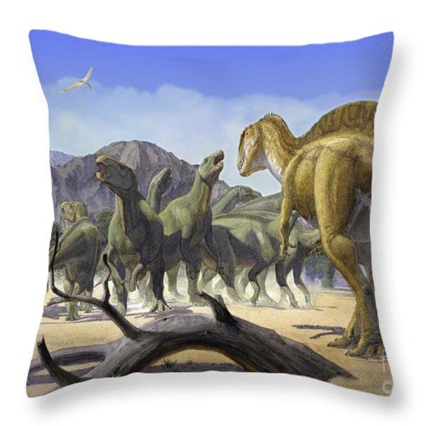 Altispinax Dunkeri Dinosaurs Attack Throw Pillow by Sergey Krasovskiy