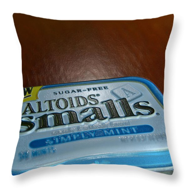 Altoids Blue Throw Pillow by Bill Owen