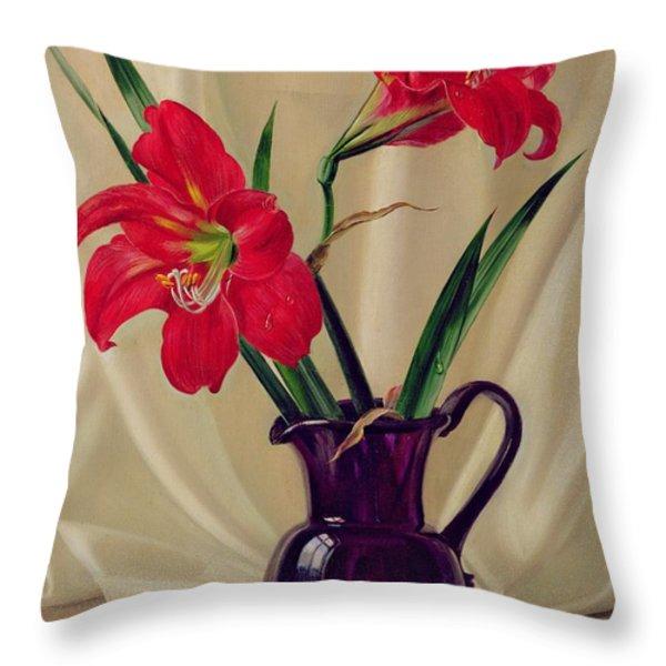 Amaryllis Lillies In A Dark Glass Jug Throw Pillow by Albert Williams