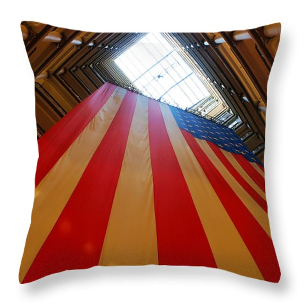 American Flag in Marshall Field's Throw Pillow by Paul Ge