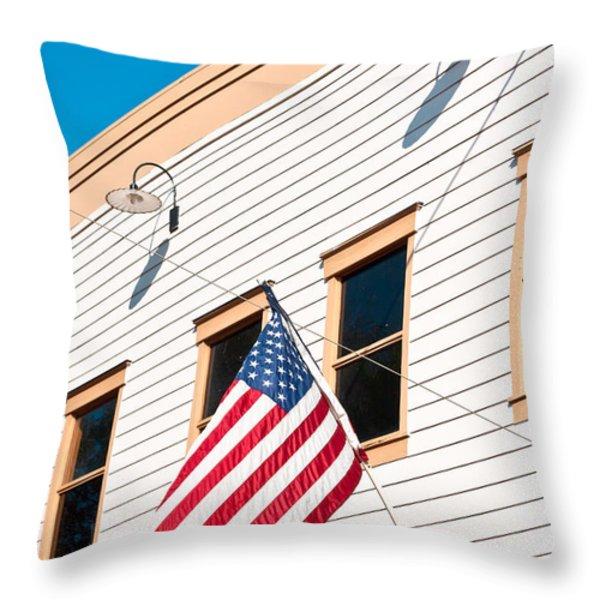 American Flag Throw Pillow by Tom Gowanlock