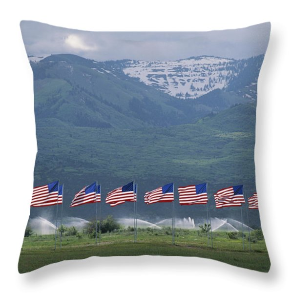 American Flags Honoring Veterans Throw Pillow by James P. Blair