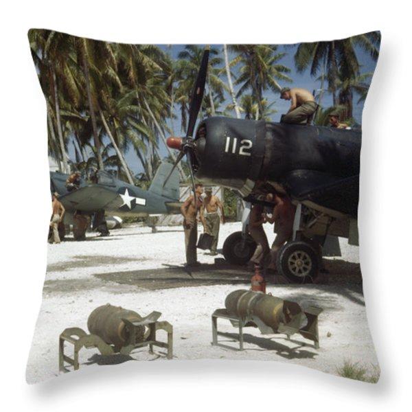 American Ground Crews Prepare Marine Throw Pillow by W. Robert Moore