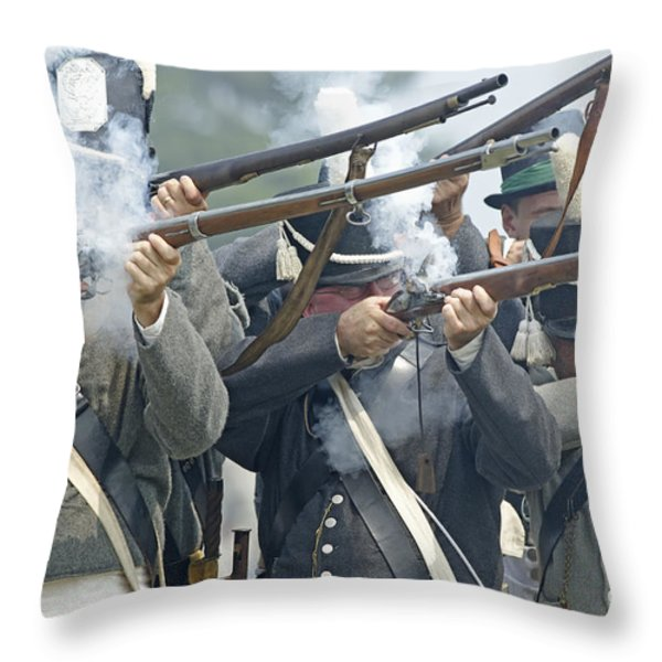 American Infantry Firing Throw Pillow by JT Lewis