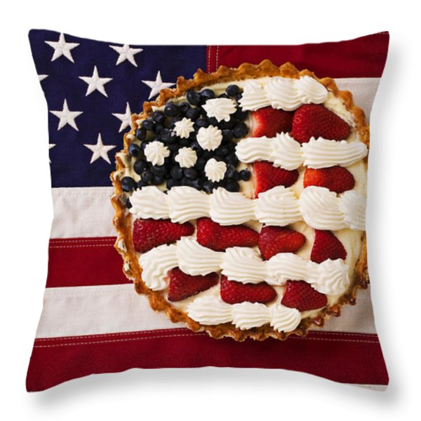 American Pie On American Flagamerican Pie On American Flagamer Throw Pillow by Garry Gay