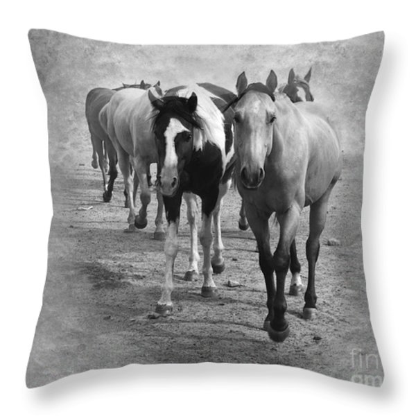 American Quarter Horse Herd In Black And White Throw Pillow by Betty LaRue