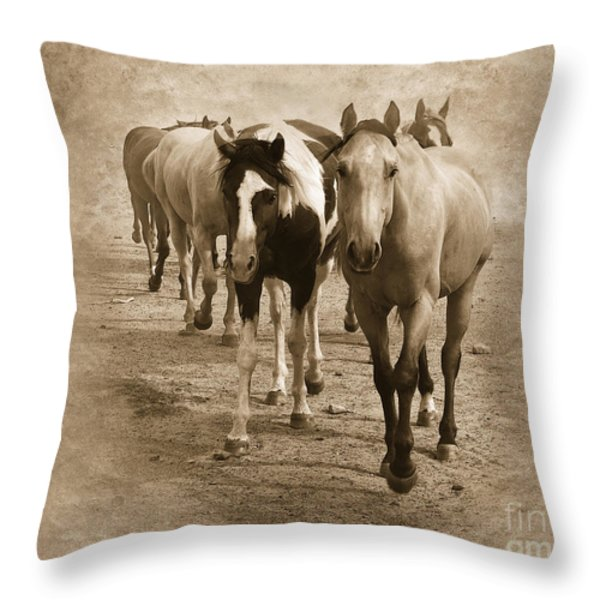 American Quarter Horse Herd in Sepia Throw Pillow by Betty LaRue