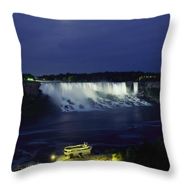 American Side Of Niagara Falls, Seen Throw Pillow by Richard Nowitz