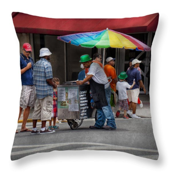 Americana - Mountainside NJ - Buying Ices  Throw Pillow by Mike Savad