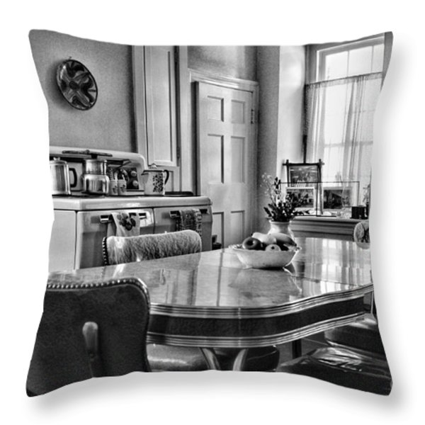 Americana - 1950 Kitchen - 1950s - retro kitchen Black and White Throw Pillow by Paul Ward