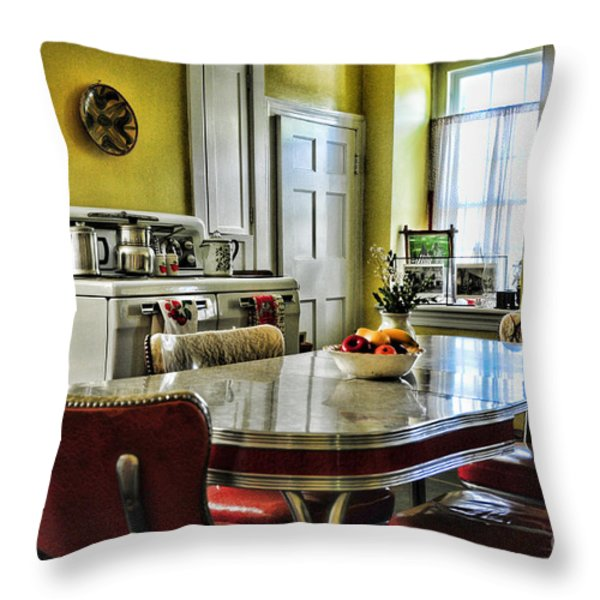 Americana - 1950 Kitchen - 1950s - Retro Kitchen Throw Pillow by Paul Ward