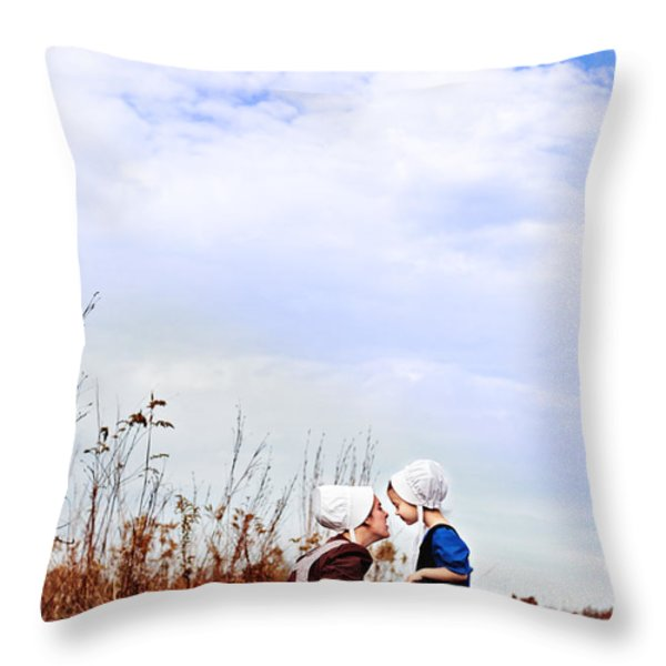 Amish Mother and Child Throw Pillow by Stephanie Frey