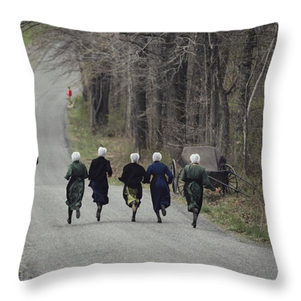 Amish People Visiting Middle Creek Throw Pillow by Ira Block