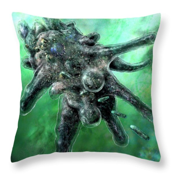 Amoeba Green Throw Pillow by Russell Kightley