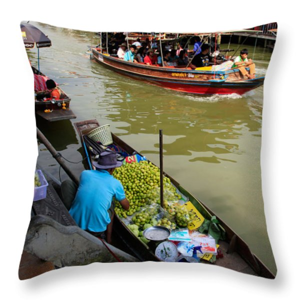 Ampawa Floating Market Throw Pillow by Adrian Evans