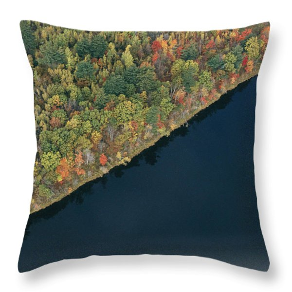 An Aerial View Of A Forest In Autumn Throw Pillow by Heather Perry