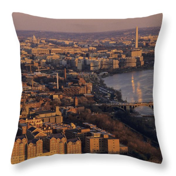 An Aerial View Of D.c. And The Potomac Throw Pillow by Kenneth Garrett