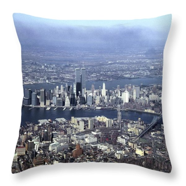 An Aerial View Of The Twin Towers Throw Pillow by Rex A. Stucky