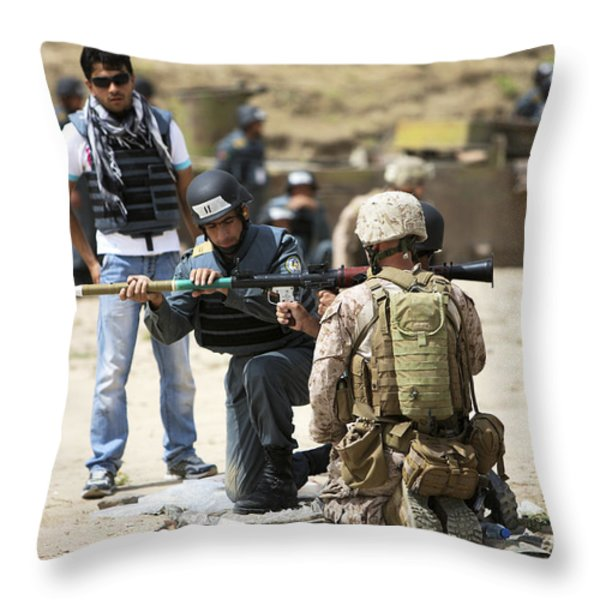 An Afghan Police Student Loads A Rpg-7 Throw Pillow by Terry Moore