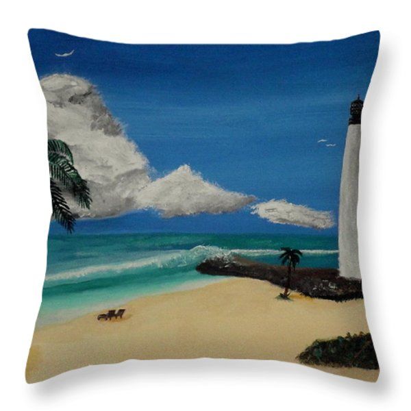 An Afternoon By The Lighthouse Throw Pillow by Spencer Hudon II