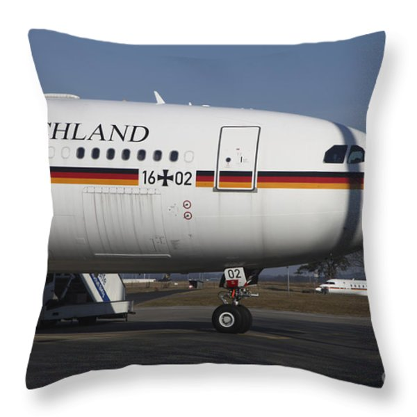 An Airbus 340 Acting As Air Force One Throw Pillow by Timm Ziegenthaler
