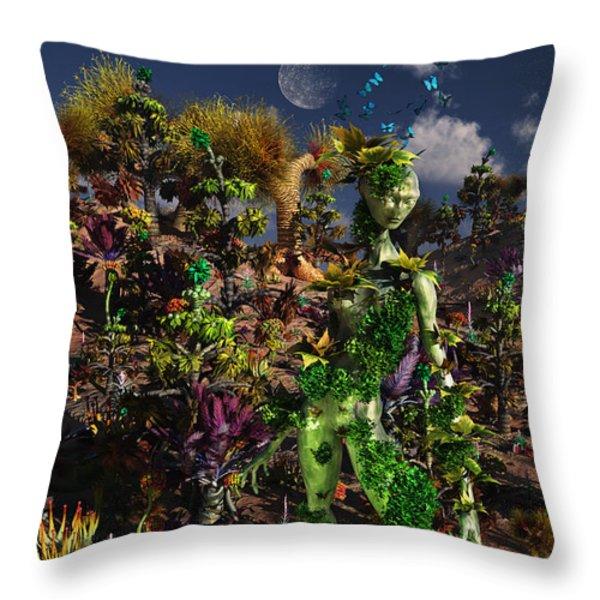 An Alien Being Blending Throw Pillow by Mark Stevenson