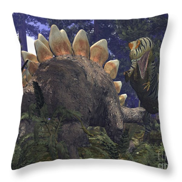 An Allosaurus Stumbles Upon A Grazing Throw Pillow by Walter Myers