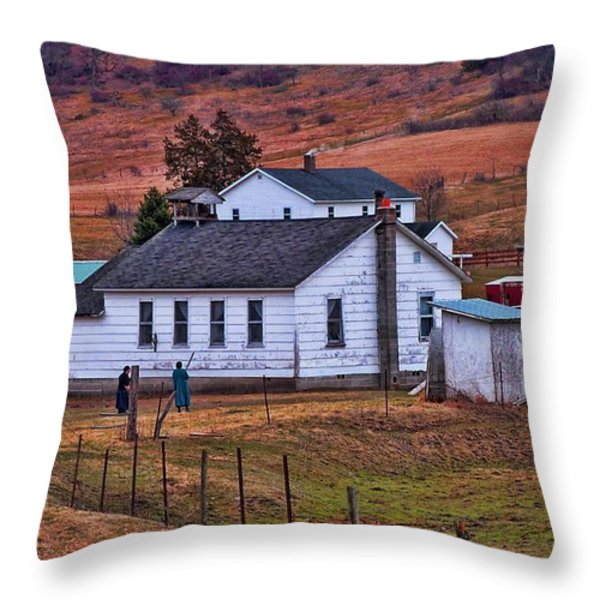 An Amish Farm Throw Pillow by Tommy Anderson