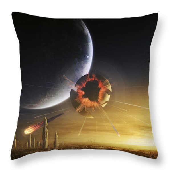 An Apocalyptic Scene Showing A Gravity Throw Pillow by Tobias Roetsch