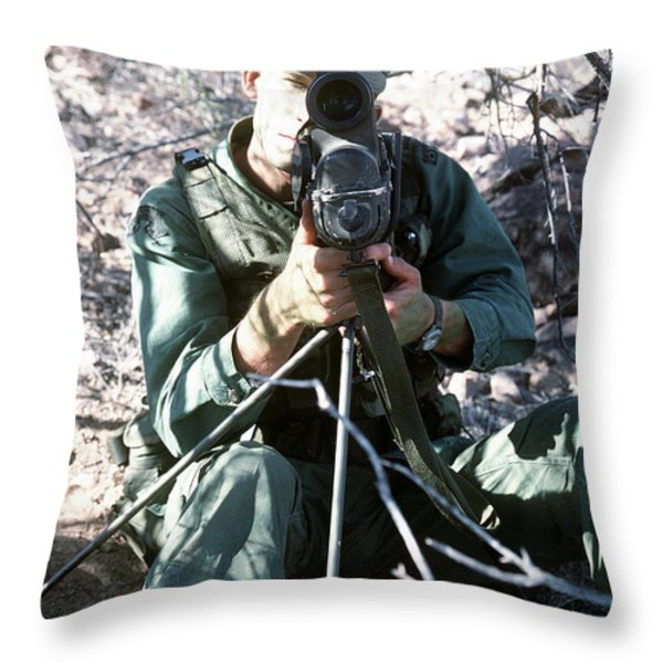 An Army Ranger Sets Up An Anpaq-1 Laser Throw Pillow by Stocktrek Images