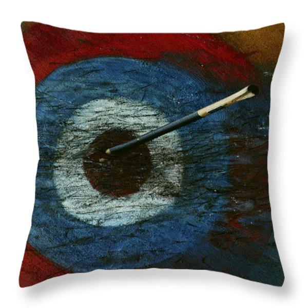 An Arrow Hit The Bullseye Throw Pillow by Sam Abell