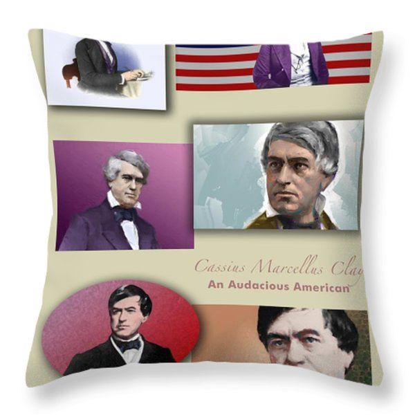 An Audacious American Throw Pillow by Sid Webb