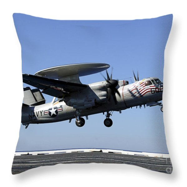 An E-2c Hawkeye Conducts A Touch-and-go Throw Pillow by Stocktrek Images