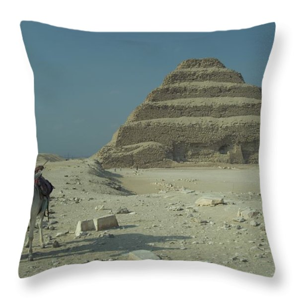 An Egyptian Man And Donkey At The Step Throw Pillow by Richard Nowitz